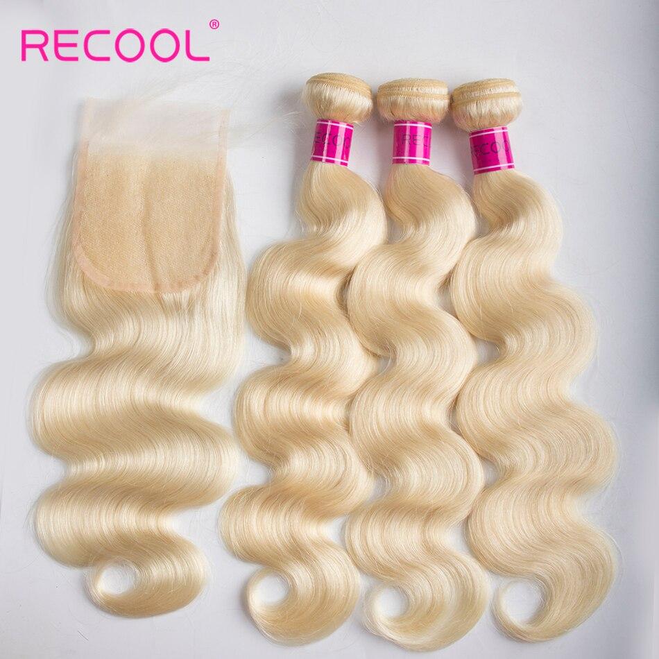 Recool Hair Blonde Bundles with Closure Brazilian Hair Weave Bundles 3 Pcs Body Wave Bundles with