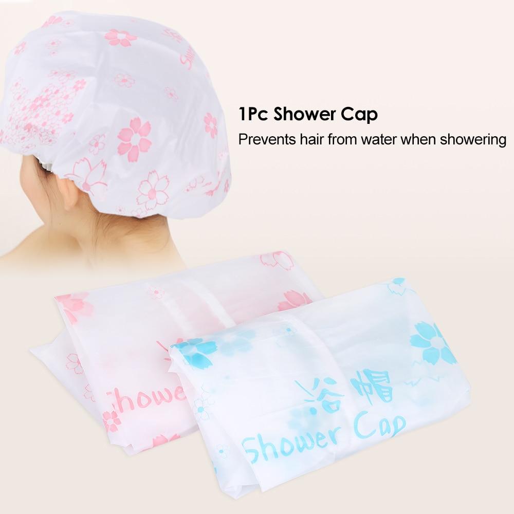 1Pc Waterproof Shower Cap Elastic Band Bath Cap Hat Plastic Hair Cover for  Showering Eyelash Eyebrow Tattooing Random Color-in Caps 129e5f84ef9