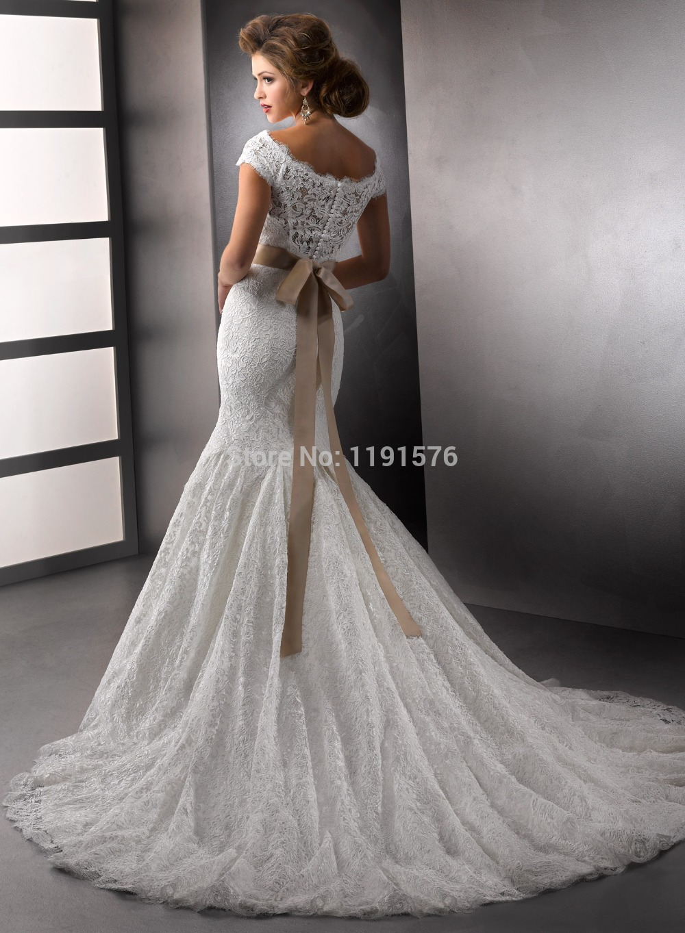 New Fashion Scoop Cap Sleeve Mermaid Wedding Dress Lace Bridal ...