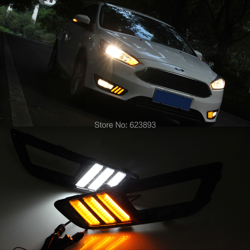 Car Styling For Ford Focus 2017 Oem Fit Amber White Switchback Led Daytime Running Lights W Turn Signal Feature