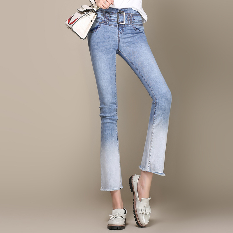 Gradient Color Jeans Female Flare Pants 2017 Spring New Women s Stretch Large Size Ankle Length
