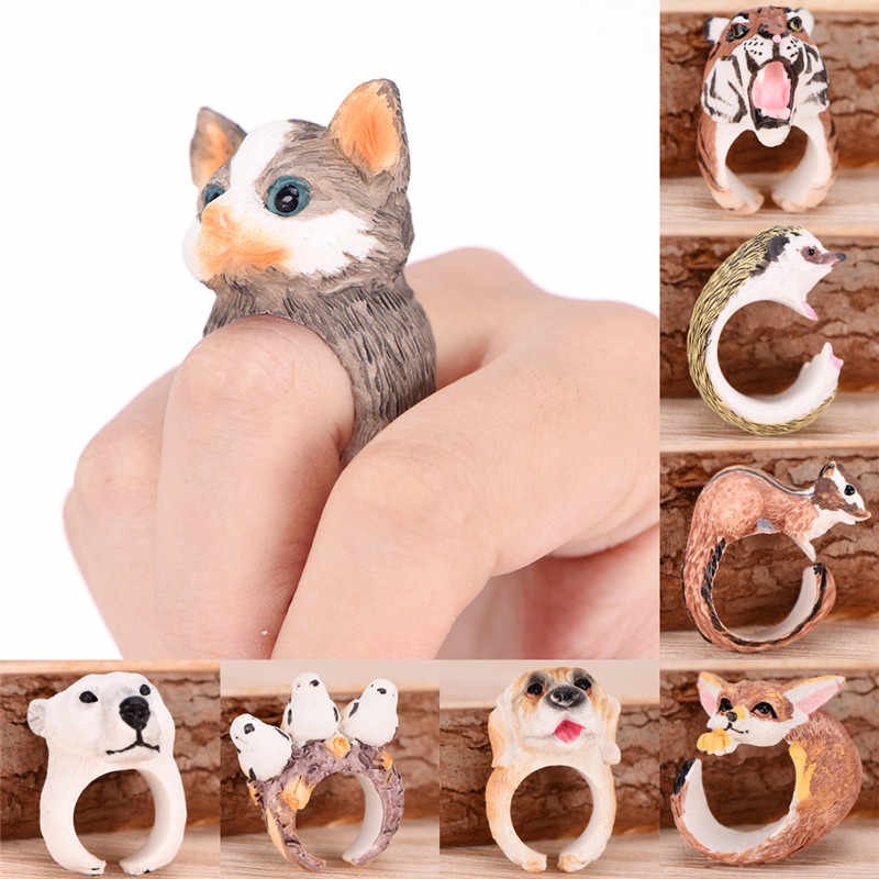 1 PC 3D Open Cuff Animal Ring 8 Kinds of Animal Rings Women Men Cute Cartoon Monkey Frog Bird Dog Fox Rabbit Panda