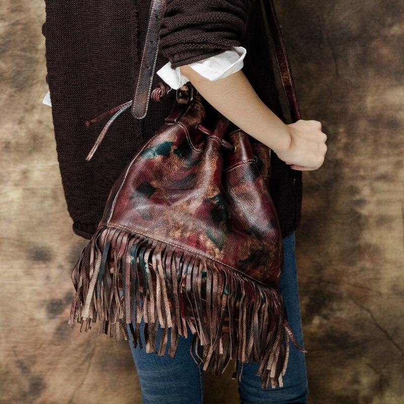 New 2016 Handmade Genuine Leather Tassel Women Vintage Shoulder Bag Designer Multi Function Female Retro Messenger