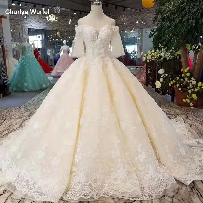LS11087 Light Champagne Wedding Gowns Flare Half Sleeves Sweetheart Lace Up Back Wedding Dresses Ball Gown From Real Factory
