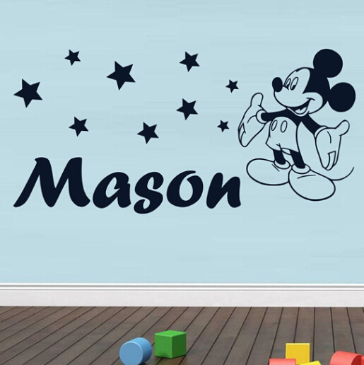 Mickey Mouse wall sticker Personalised Style Any Name wall decal wall art  wallpaper tx. Online Buy Wholesale mickey mouse stickers from China mickey mouse