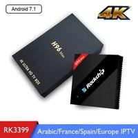 H96 MAX Android 7.1 TV Box Rockchip RK3399 4G RAM 32G ROM 2.4/5Ghz Wifi H.265 Smart 4K Media Player arabic franch Spain IPTV Box