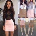 Fashion Women Lady Sexy Bandge PU High Waist Bud Bodycon Hip Short Mini Skirt Pink Brown Color