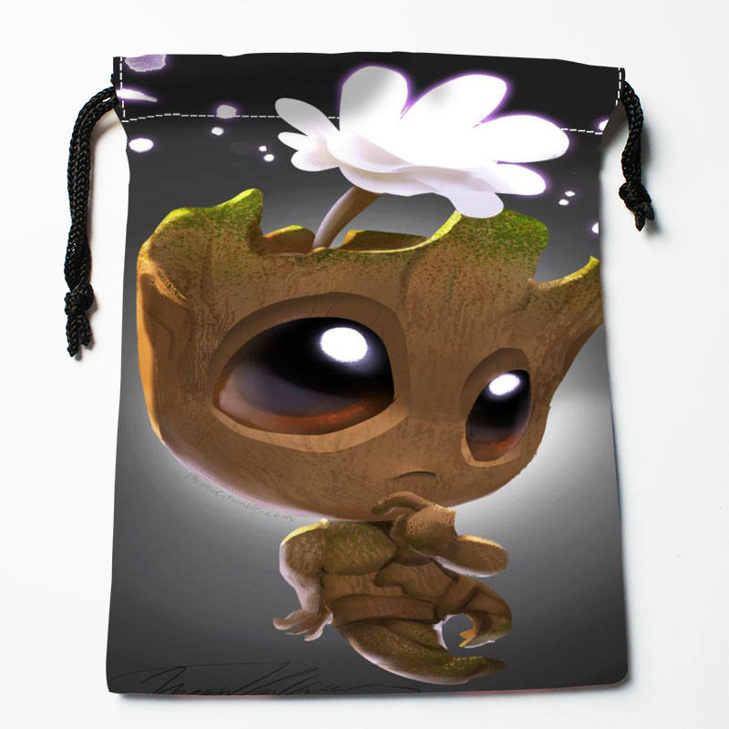 High Quality Custom Baby Groot  Printing Storage Bag Drawstring Bag Gift Satin Bags 27x35cm Compression Type Bags