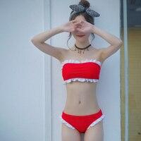 Teenage Girl Sweet Serie Swimwear Woman Sexy Bikini Solid Color Set Sexy Swimwear Women Bathsuit Big