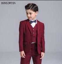 bade2069edad2 BONSIWTXN 2019 garçon costume noir pour les mariages formel bal fête bébé  garçons Blazers enfants vêtements