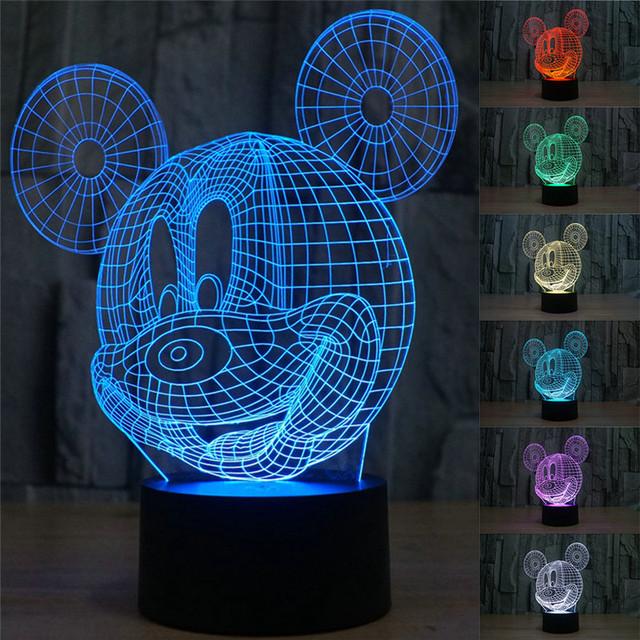 3D Creativo Lámpara de Mesa de Acrílico de Mickey Mouse LED Luz de La Noche Atmósfera colorida Lámpara de Mesa con Cable USB Mejor Regalo para niños