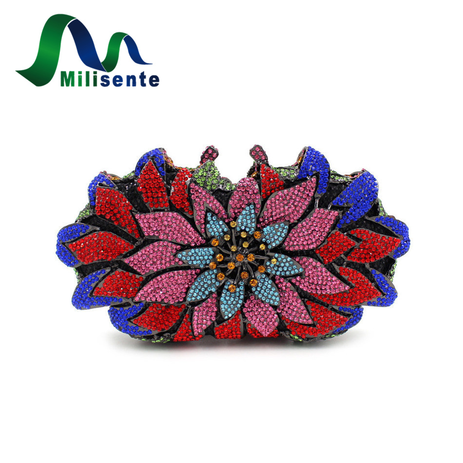 Milisente Women Flower Crystal Wedding Bags Ladies Evening Bag Female Party Clutches Purses 1pair license number plate light 18led lamps replace for ford mondeo focus 5d canbus d2tb