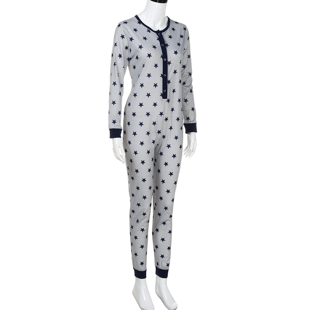 Womail Women Long Sleeve Star Printed Pajama Set Buttons O Neck Sleepwear Home Clothes For Women Gray Family Nightwear
