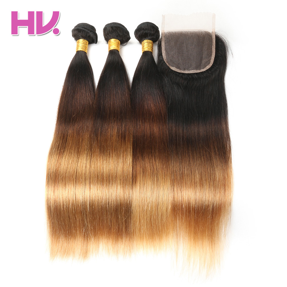 Hair Villa Ombre Peruvian Straight Hair 3 Bundles With 4*4 Swiss Lace Closure #1B/4/27 Non-Remy Human Hair Free Shipping