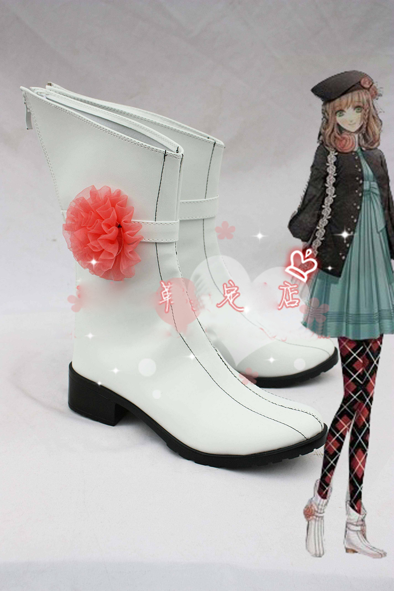 Anime Amnesia Heroine White Boots Cosplay costume shoes Custom Made Halloween Free Shipping