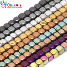 OlingArt 3MM/4MM 145PCS/95pcs Square shape beads metal mixed color AAA quality Natural Hematite Stone DIY earring Jewelry Making