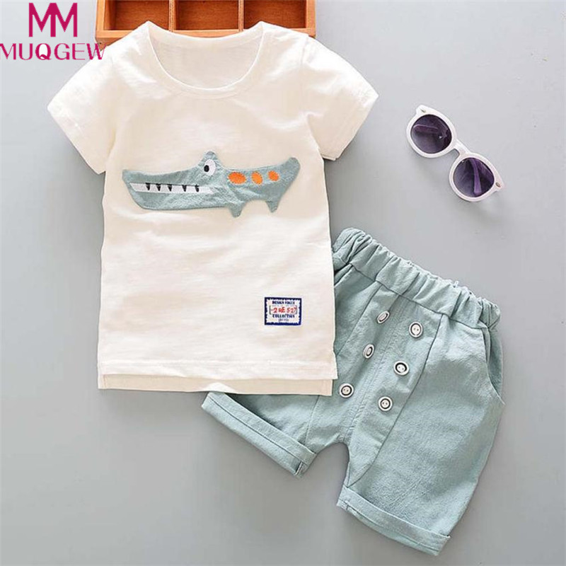 Toddler Kids Clothes Baby Boy Outfits Cartoon Print Short Sleeve T-shirt Tops+Shorts Pants Set 2018 New Summer Children Clothing 2018 casual toddler baby boy clothes set short sleeve t shirts tops camouflage pants 2pcs outfits roupas infantis menina 10 12