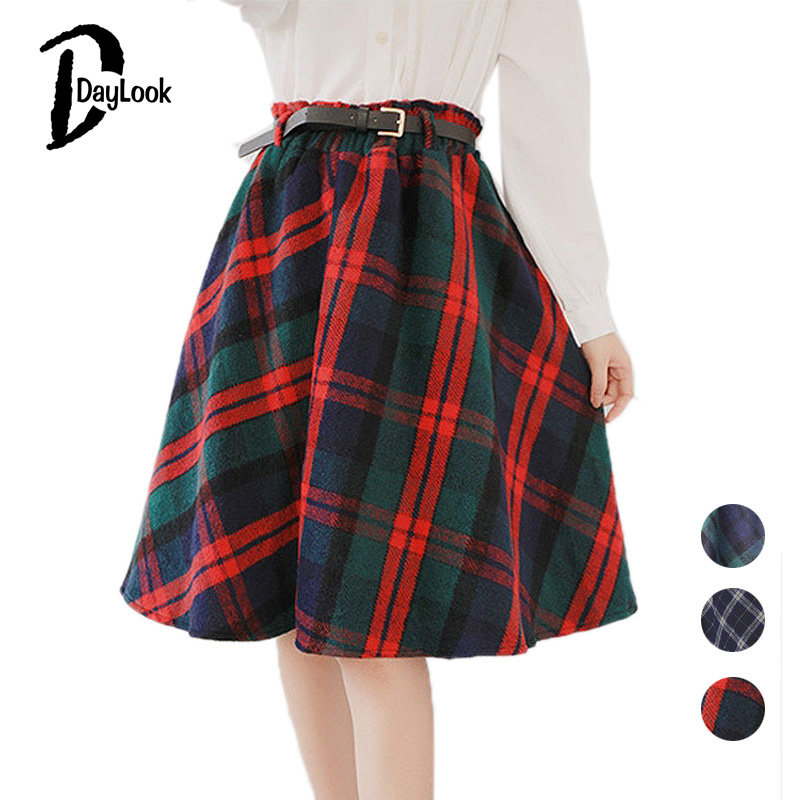 DayLook Daylook Autumn Style Scottish Plaid Skirt Women Warm Elastic Hight Waist Skater Pleated Skirt Knee Length Casual Chic 3 Colors