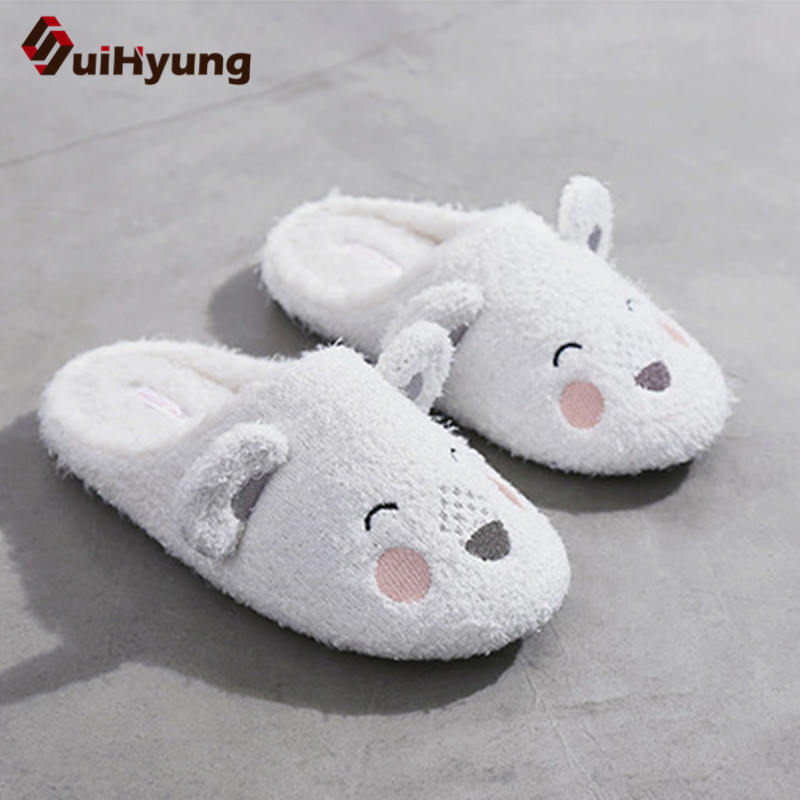 Suihyung Funny Animal Prints Women's Home Slippers Winter Warm Flock Smile Bear Indoor Shoes Ladies House Casual Plush Slippers cute bear plush slippers with leaf pantoufle femme women shoes woman house animal warm big animal woman funny slippers