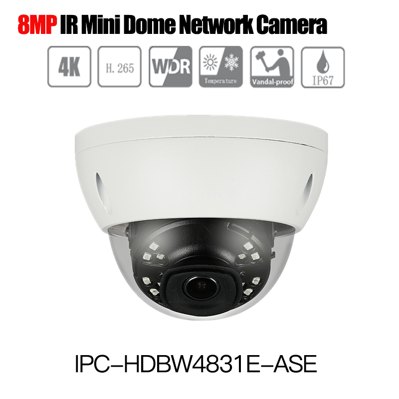 DH IPC-HDBW4831E-ASE 8MP 4K Mini Dome Network IP Camera Smart Detect Alarm Audio in/out 30m IR H.265 WDR IP67 IK10 PoE ONVIF romanson часы romanson tl0392mw wh коллекция gents fashion