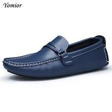 Yomior Фирменная Новинка Цвета из коровьей кожи мужская обувь на плоской подошве Обувь Мягкие Мокасины мужские лоферы обувь для вождения модная повседневная обувь Большие размеры в наличии 38–47