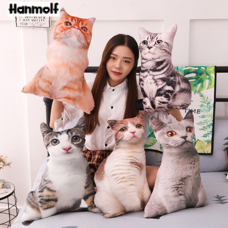 Cat Shaped Plush Pillow Stuffed Animals Lifelike Huggable Grey Brown Tiger Stripe Sofa Chair Decor Kids 55cm