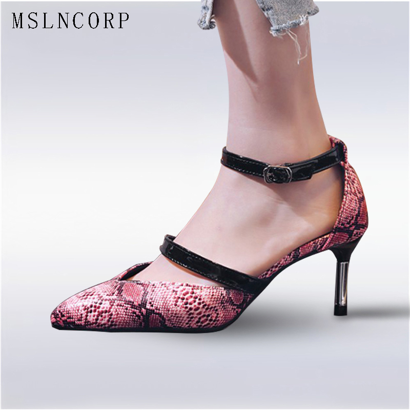 Size 34-43 Printing Leather Women Sandals High Heels Fashion Pointed Toe Ankle Strap Summer solid shallow Wedding Party Shoes