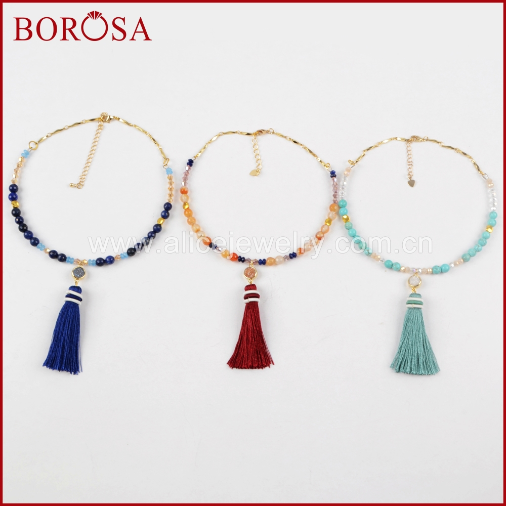 BOROSA Gold Color Round Rainbow Titanium Druzy Tassel Choker Necklace Lapis Howlite Crystal Beads Vintage Women Jewelry G1365