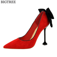 New Spring Summer Fashion Sexy Big Bow Pointed Toe High Heels Sandals Shoes Woman Ladies Wedding
