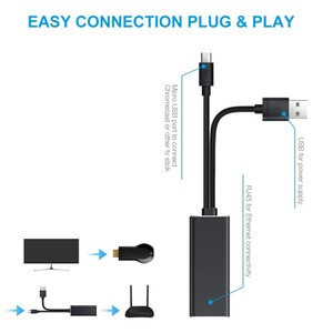 Image 3 - Mini 10/100mbps Red TV Stick adaptador fuego Micro USB TV Stick adaptador Ethernet Chromecast de Google para Google en casa