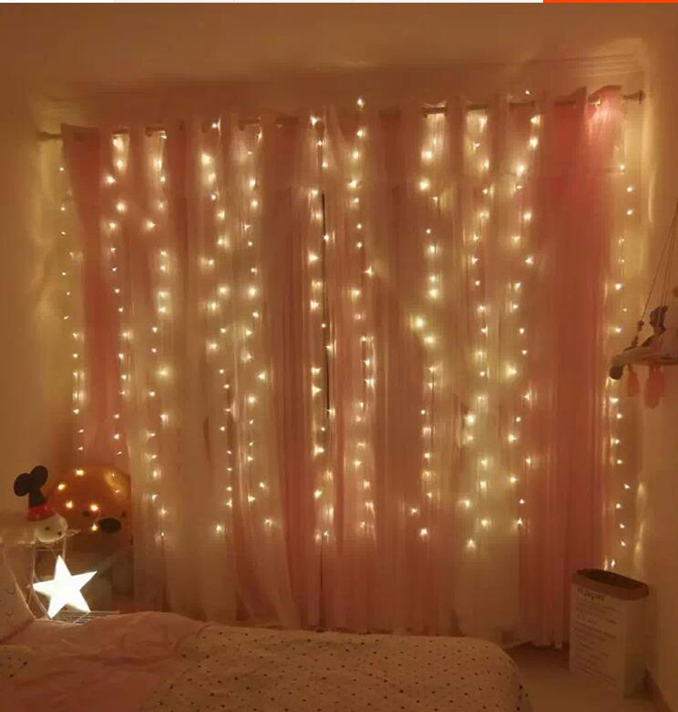 led stars colorful string light wedding bedroom room background curtain lights waterfall decorative festive color flash light