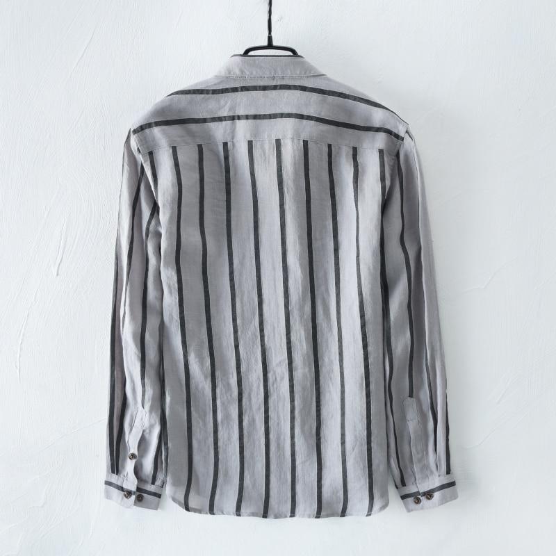 2018 New arrival long sleeve striped shirt men brand fashion leisure men shirts linen French trend autumn shirt male chemise