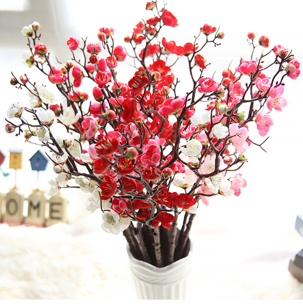 Artificial flowers cheap silk fake flowers plum blossom floral 1 flower artificial izmirmasajfo Image collections