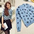 2015 nuevo chile pequeño rayas patrón suéter azul