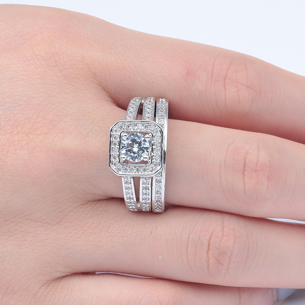2016 Large Square Promise Rings Drop Shipping Lovely Full Paved Cubic Zircon Women Engagement Ring Sets In From Jewelry