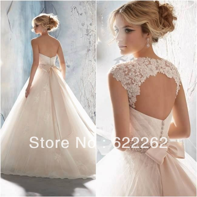 Hot sale bow belt removable jacket tulle Wedding Dress Bridal Gown a ...