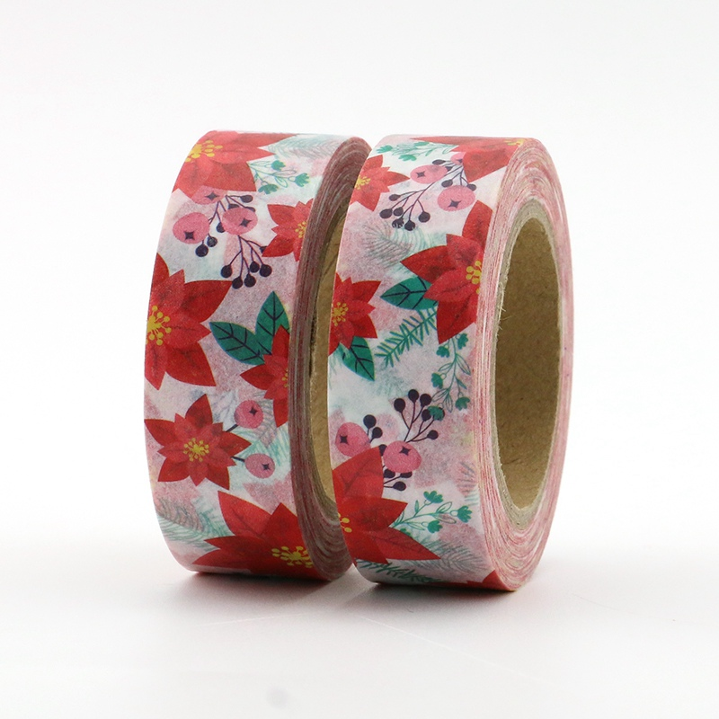 2PCS/lot Decorative Bright Leaves Washi Tapes Paper For Planner Scrapbook Bullet Journal Adhesive Tapes 15mmx10m School Supply