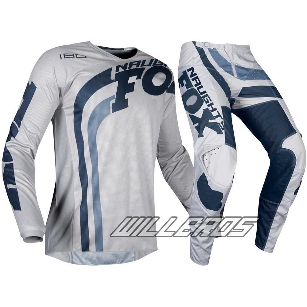 2019 MX 180 Cota gris marine Jersey & pantalon Combo ATV Dirt Bike Motocross ensemble de vêtements pour adultes