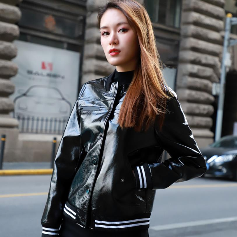 Spring new fashion brand glossy fabric locomotive   leather   outwaer female striped pattern pu   leather   jacket factory direct wq1067
