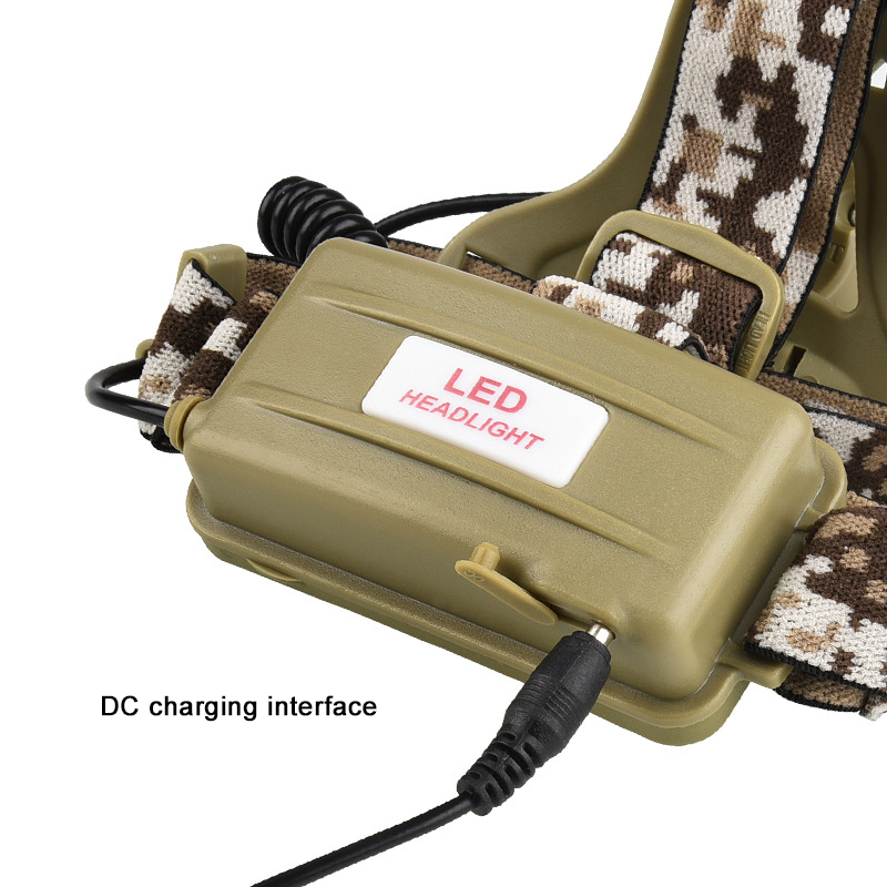 Image 4 - Camouflage Led Headlamp T6 waterproof LED Headlight led Head Lamp Lantern Lamp Camping Hiking Fishing Light use 18650 battery-in Headlamps from Lights & Lighting
