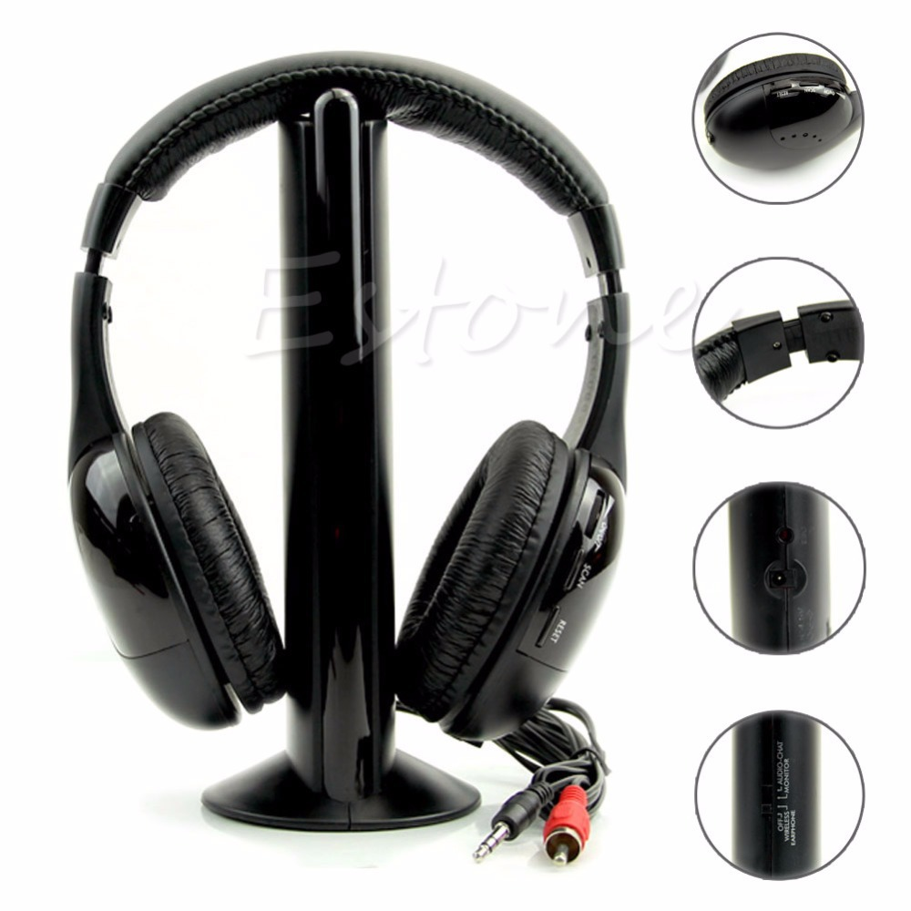 цены на New 5 in 1 Hi-Fi Wireless Headset Headphone Earphone for TV DVD MP3 PC free shipping