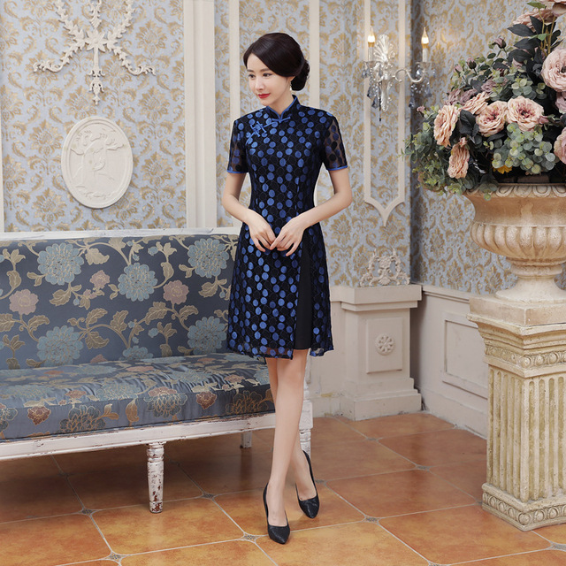 b62dde6ca1b 2019 Summer New Blue Satin Cheongsam Vietnam Ao Dai Dress Chinese Vintage  Lady  s Short Sleeve Sexy Print Short Dress S-3XL AD2