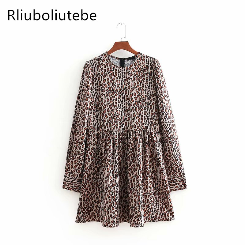 vintage animal print sexy mini dress women tunic long sleeve casual new work retro leopard print high waist pleated dresses