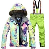Новый GSOU снег Для женщин один двойной борт лыжный костюм волосы воротник Термальность Водонепроницаемый ветрозащитная лыжная куртка + лыжн