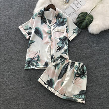 Summer New Short Section Printing Women Pajama Set Ice Silk Thin section Sleepwear