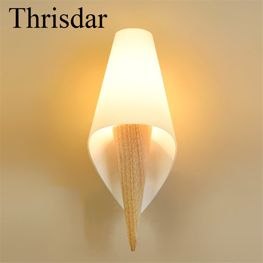 Thrisdar E27 Creative Nordic Conch Wall Lamps Modern Personality Wooden Bedside Bedroom Aisle Balcony Hotel Wall Sconce Light