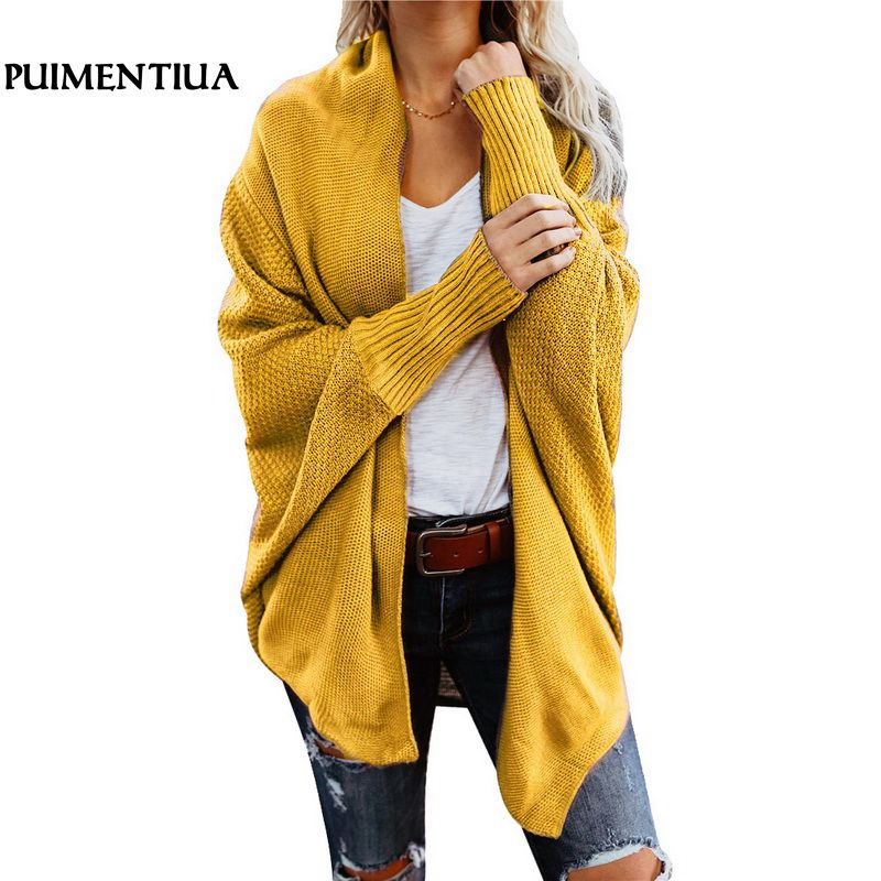 Puimentiua Autumn Winter Batwing Sleeve Knitwear Cardigan Women Large Size Knitted Sweater Cardigan Female Elegant Jumper Coat(China)
