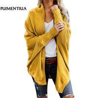 Puimentiua/осенне-зимний трикотажный кардиган с рукавами «летучая мышь» Для женщин большого размера, вязаный женский свитер-кардиган, элегантны...
