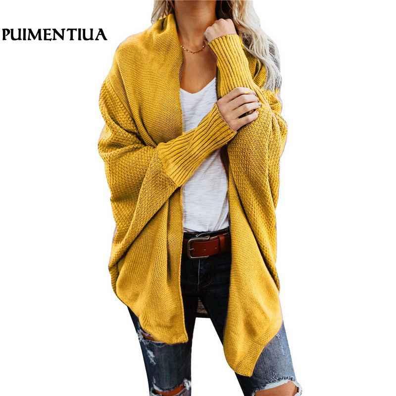 Puimentiua sonbahar kış Batwing kollu triko hırka kadın büyük boy örme kazak hırka kadın zarif Jumper ceket