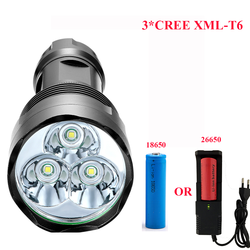 3800 Lumen High Power Flashlight  3*CREE XML-T6 Powerful LED Flash light with18650 or 26650 torch light lanterna camping riding eletorot high power led flashlight 3800lm cree xml l2 waterproof 18650 camping bicycle flash light torch 5 modes ultra bright